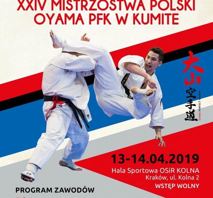 XXIV Mistrzostwa Polski Oyama PFK w Kumite, Kraków 13,14 kwietnia 2019 r